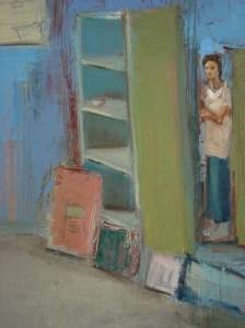 Self Portrait Behind a Bookshelf, o/c, 65X50 cm., 2008