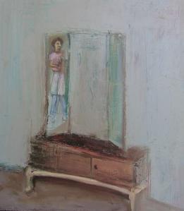 Self Portrait with an Old Mirror, o/c., 50X50 cm., SOLD (Fresh Paint Art Fair 2010)