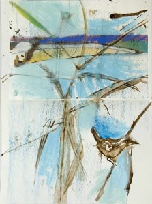 bird on branch, 15X32 cm.,-web