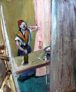 Homage to Degas, Ironing Lady, o/c, 60X50 cm., 2009